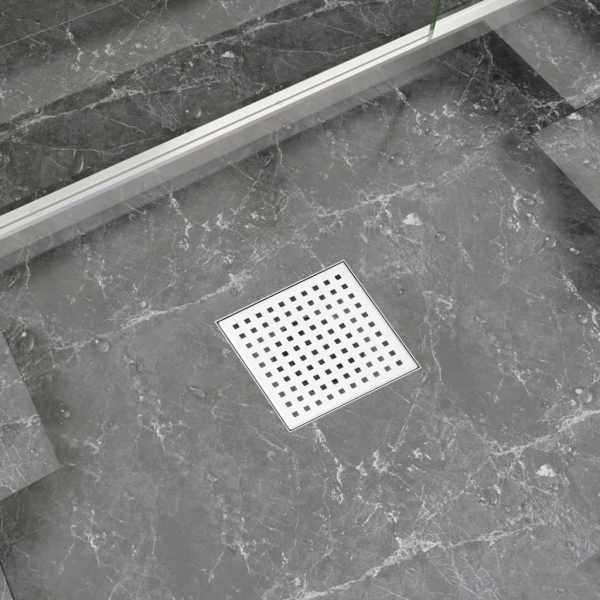 vidaXL Rigolă de duș, 15 x 15 cm, oțel inoxidabil