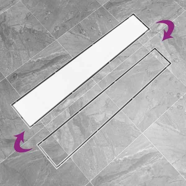 Rigolă de duș cu capac 2-în-1, 73 x 14 cm, oțel inoxidabil