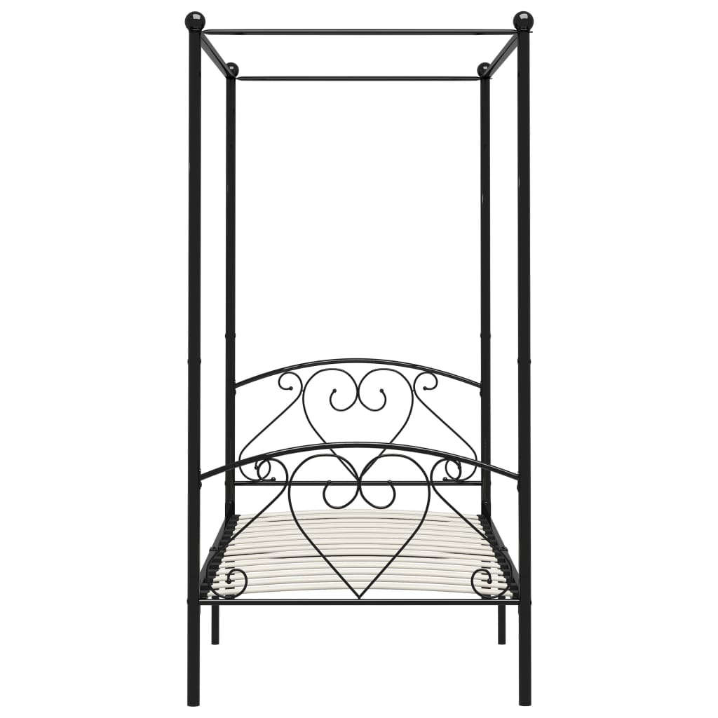 Cadru de pat cu baldachin, negru, 120 x 200 cm, metal