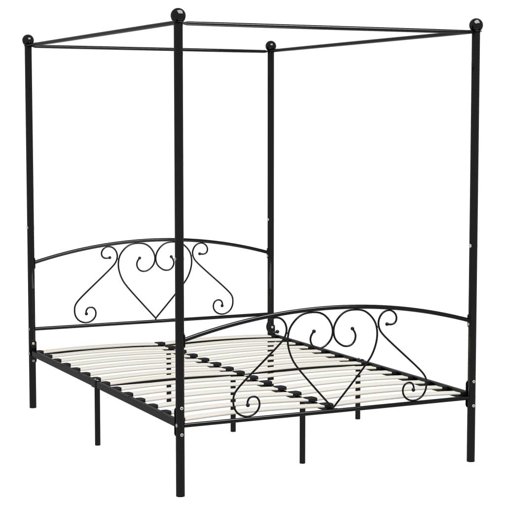 Cadru de pat cu baldachin, negru, 140 x 200 cm, metal