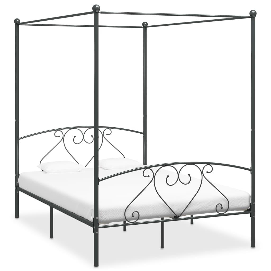 vidaXL Cadru de pat cu baldachin, gri, 140 x 200 cm, metal