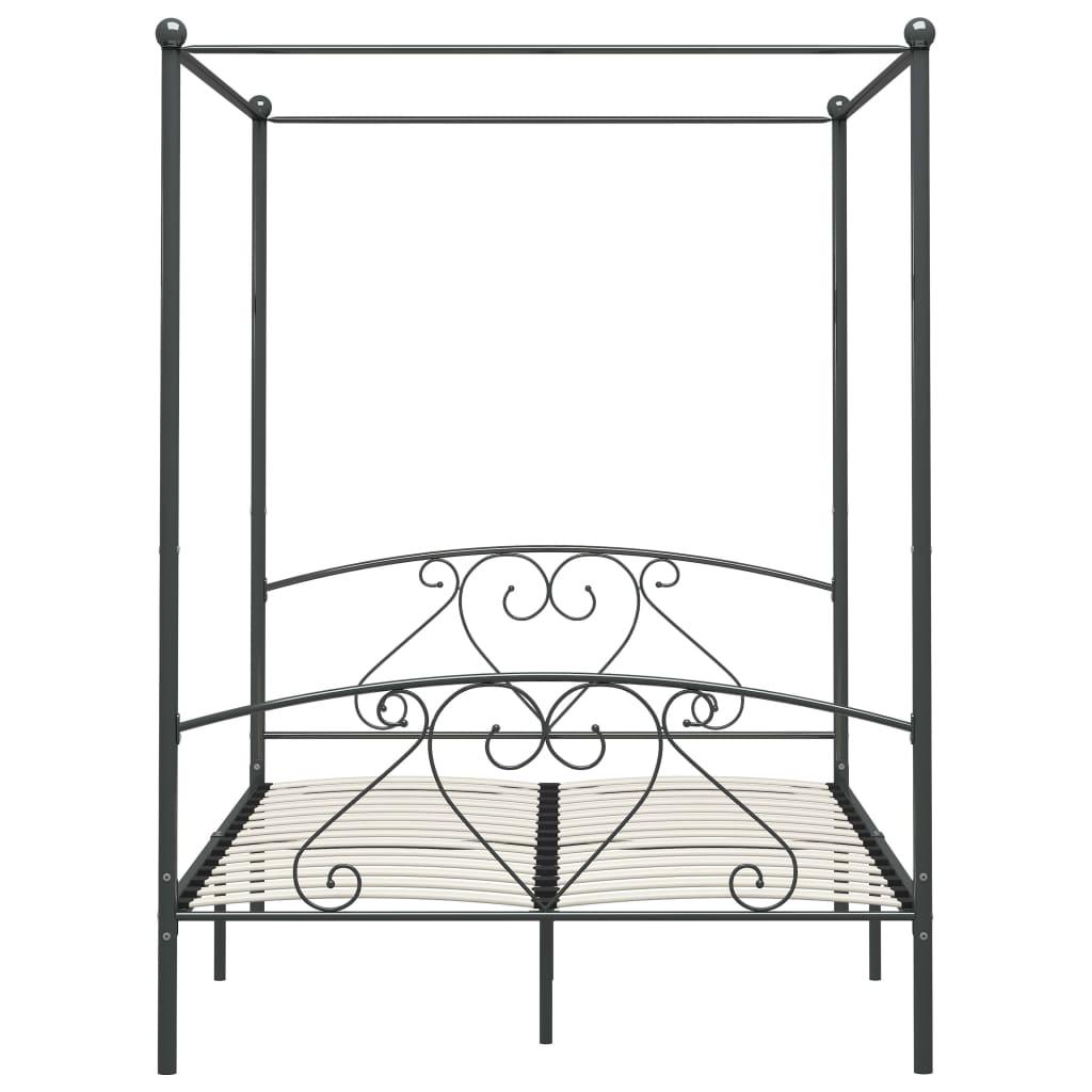 Cadru de pat cu baldachin, gri, 140 x 200 cm, metal