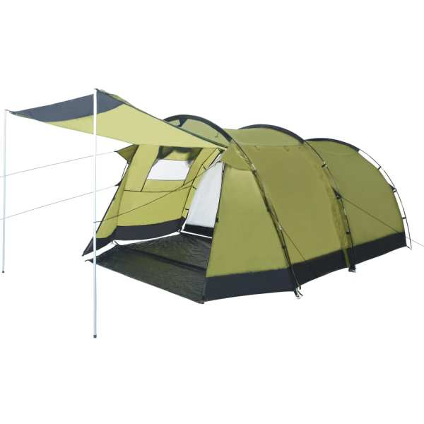 vidaXL Cort de camping tip tunel, 4 persoane, verde
