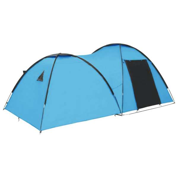 vidaXL Cort camping tip iglu, 4 persoane, albastru, 450x240x190 cm