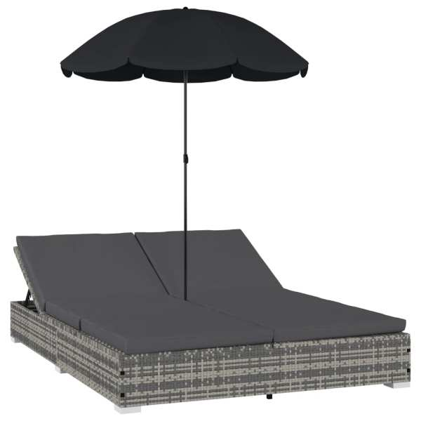 Pat șezlong de exterior cu umbrelă, gri, poliratan