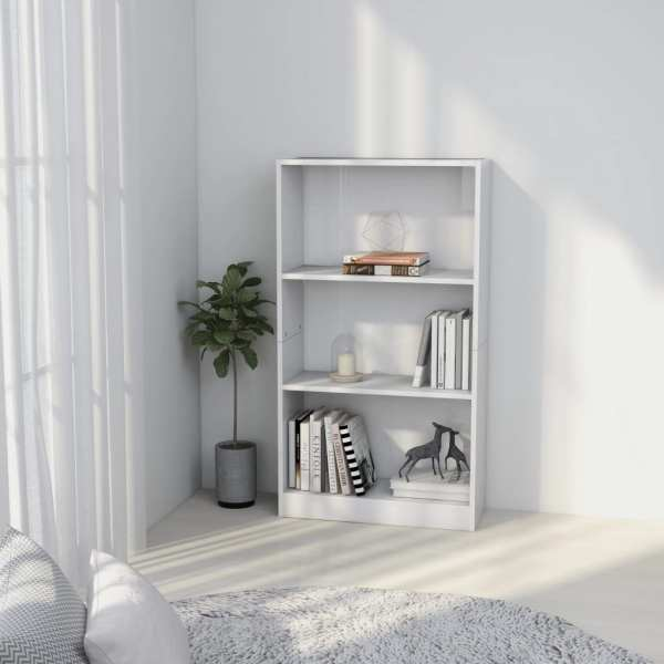 vidaXL Bibliotecă cu 3 rafturi, alb extralucios, 60 x 24 x 108 cm, PAL
