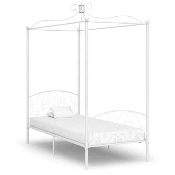 vidaXL Cadru de pat cu baldachin, alb, 90 x 200 cm, metal
