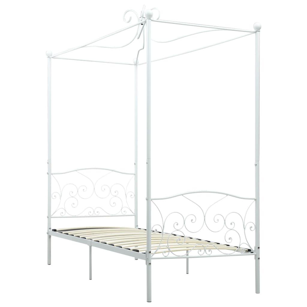 Cadru de pat cu baldachin, alb, 100 x 200 cm, metal