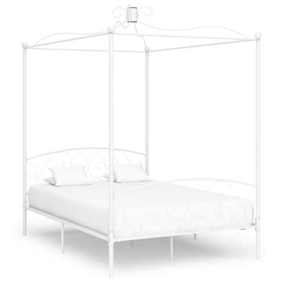 vidaXL Cadru de pat cu baldachin, alb, 140 x 200 cm, metal