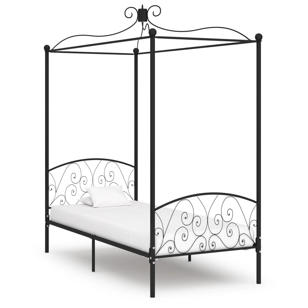 vidaXL Cadru de pat cu baldachin, negru, 90 x 200 cm, metal