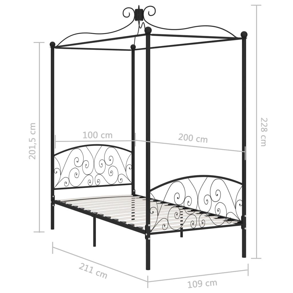 Cadru de pat cu baldachin, negru, 100 x 200 cm, metal