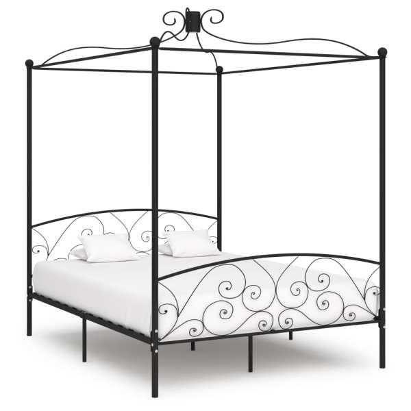 vidaXL Cadru de pat cu baldachin, negru, 180 x 200 cm, metal