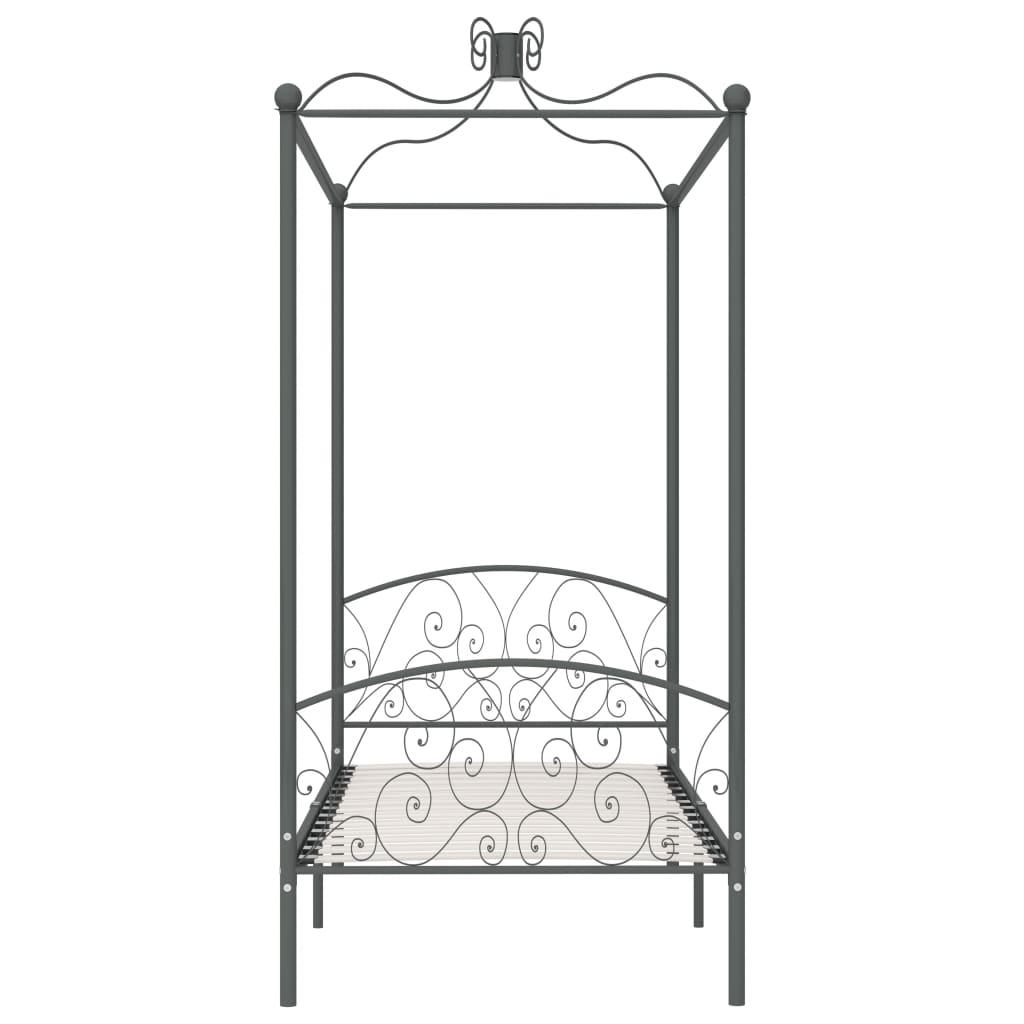 Cadru de pat cu baldachin, gri, 90 x 200 cm, metal