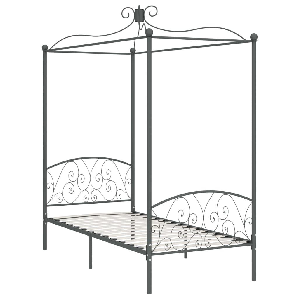 vidaXL Cadru de pat cu baldachin, gri, 100 x 200 cm, metal