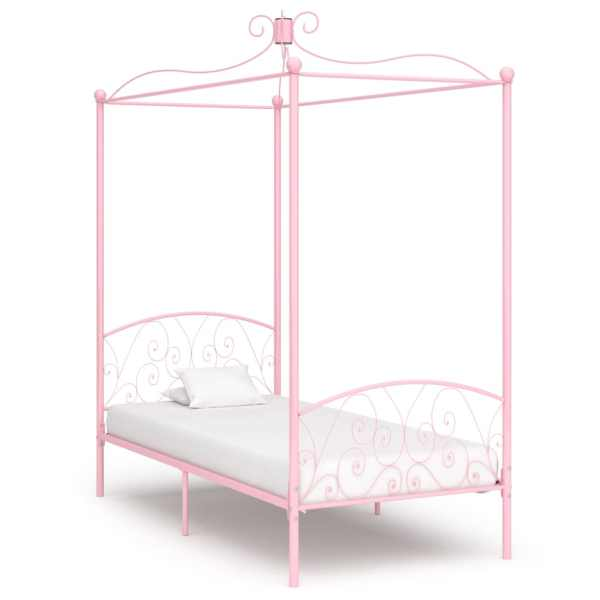 vidaXL Cadru de pat cu baldachin, roz, 100 x 200 cm, metal