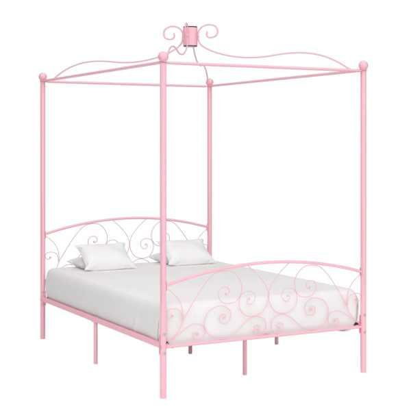 vidaXL Cadru de pat cu baldachin, roz, 120 x 200 cm, metal