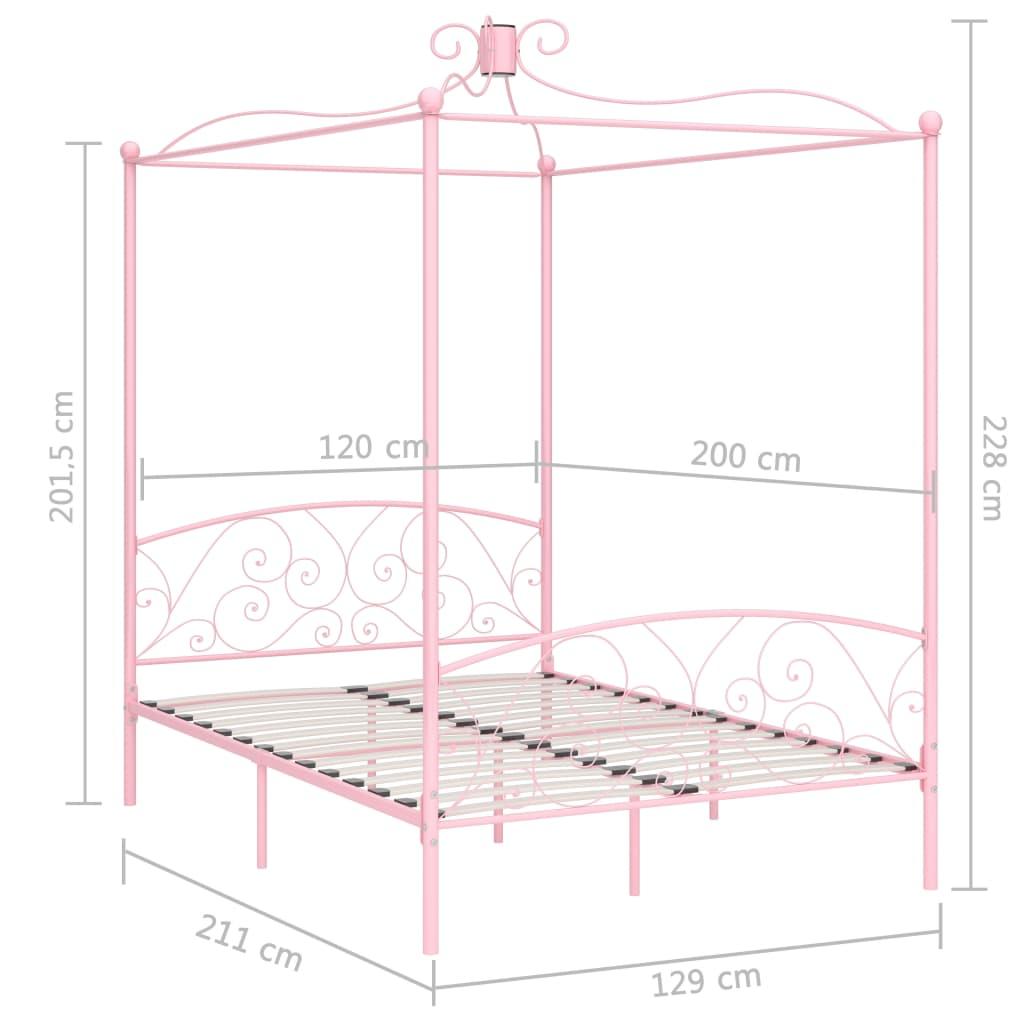Cadru de pat cu baldachin, roz, 120 x 200 cm, metal