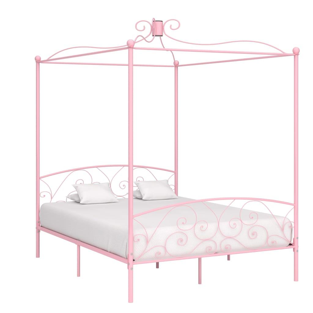 vidaXL Cadru de pat cu baldachin, roz, 160 x 200 cm, metal