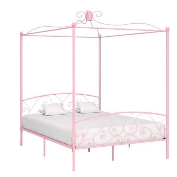 vidaXL Cadru de pat cu baldachin, roz, 180 x 200 cm, metal