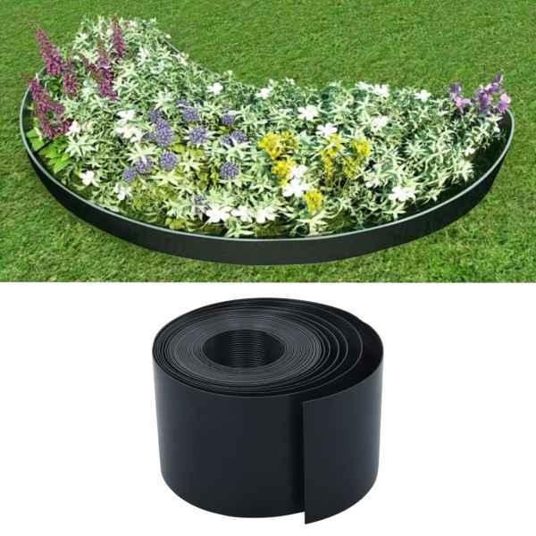 vidaXL Bordură de grădină, negru, 10 m, 15 cm, PE