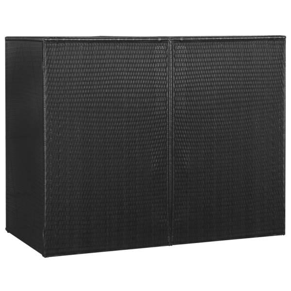 vidaXL Magazie de pubele dublă, negru, 153 x 78 x 120 cm, poliratan
