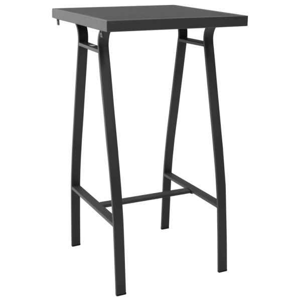 vidaXL Masă de bar grădină, negru, 60 x 60 x 110 cm, sticlă securizată