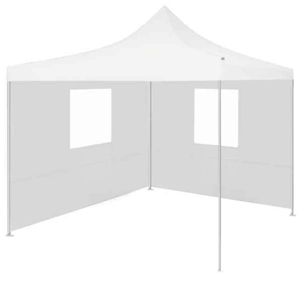 vidaXL Cort de petrecere pliabil cu 2 pereți laterali, alb, 2x2m, oțel