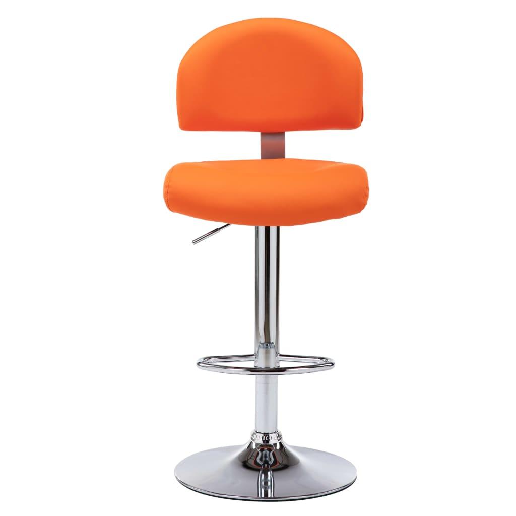 Scaune de bar, 2 buc., portocaliu, piele ecologică