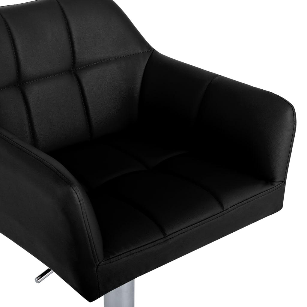 Scaun de bar cu brațe, negru, piele ecologică