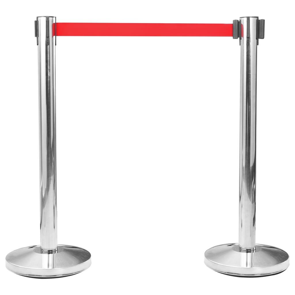 vidaXL Stâlp cu bandă barieră pentru aeroport oțel inoxidabil argintiu
