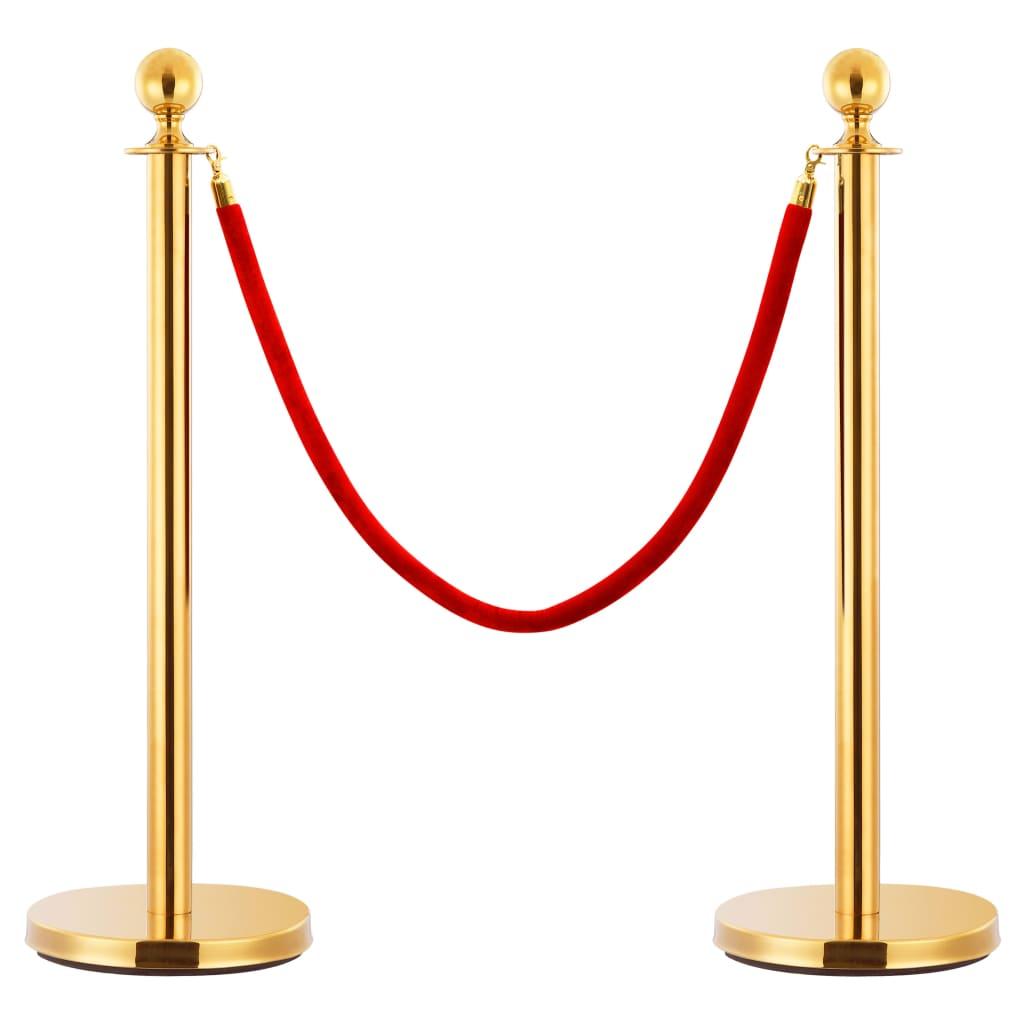 vidaXL Cordon de delimitare pentru stâlpi, roșu și auriu, catifea