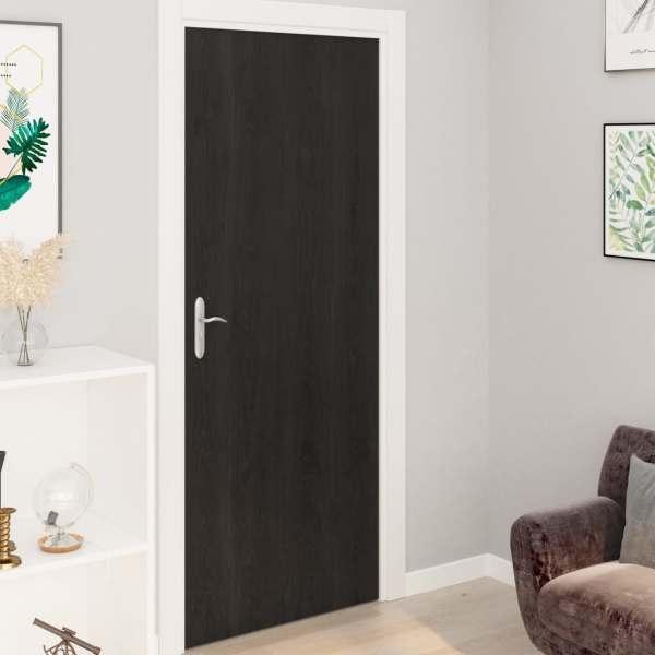 vidaXL Folii de ușă autoadezive, 2 buc., lemn închis, 210 x 90 cm, PVC