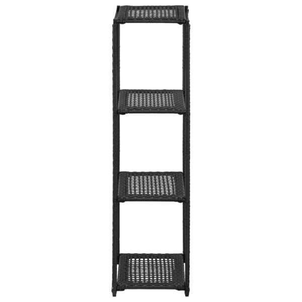 Raft de depozitare, negru, 30 x 30 x 120 cm, poliratan