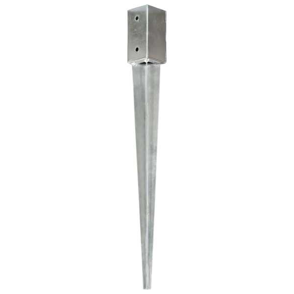 vidaXL Țăruși de sol, 2 buc., argintiu, 7x7x75 cm, oțel galvanizat