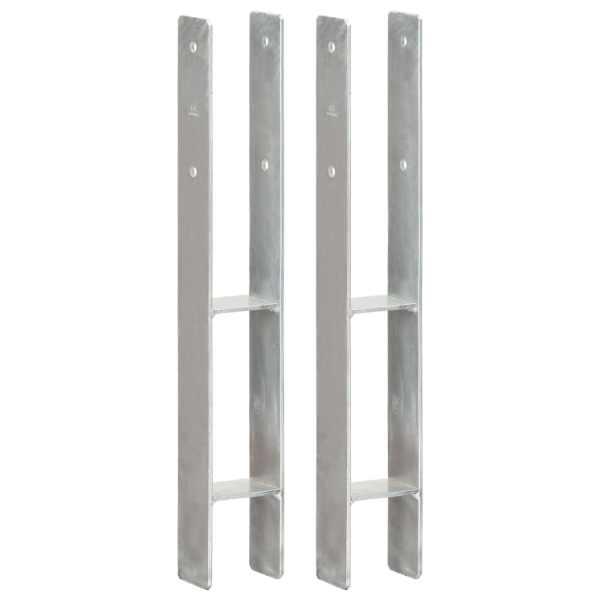 vidaXL Ancore de gard, 2 buc., argintiu, 8x6x60 cm, oțel galvanizat