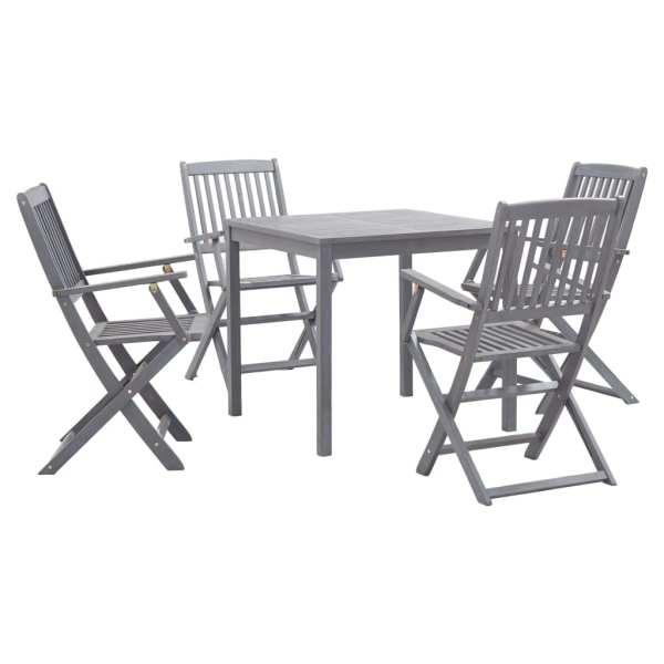 vidaXL Set mobilier de grădină, 5 piese, gri, lemn masiv de acacia