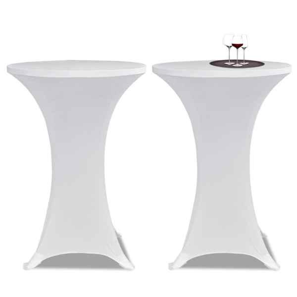 Husă de masă cu picior Ø70 cm, 4 buc., alb, elastic