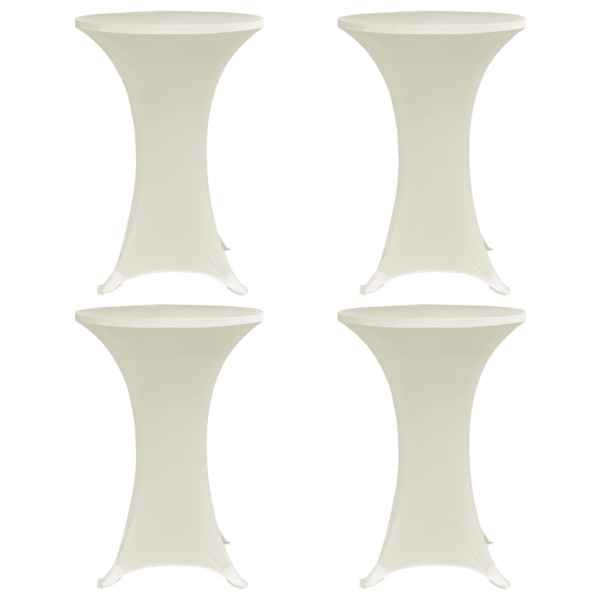 vidaXL Husă de masă cu picior Ø70 cm, 4 buc., crem, elastic