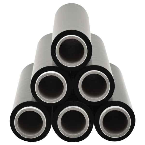 Role de folie pentru paleți, 6 buc., negru, 17 µm, 840 m