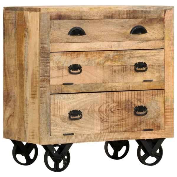 vidaXL Dulap lateral cu roți, 70 x 40 x 75 cm, lemn masiv de mango