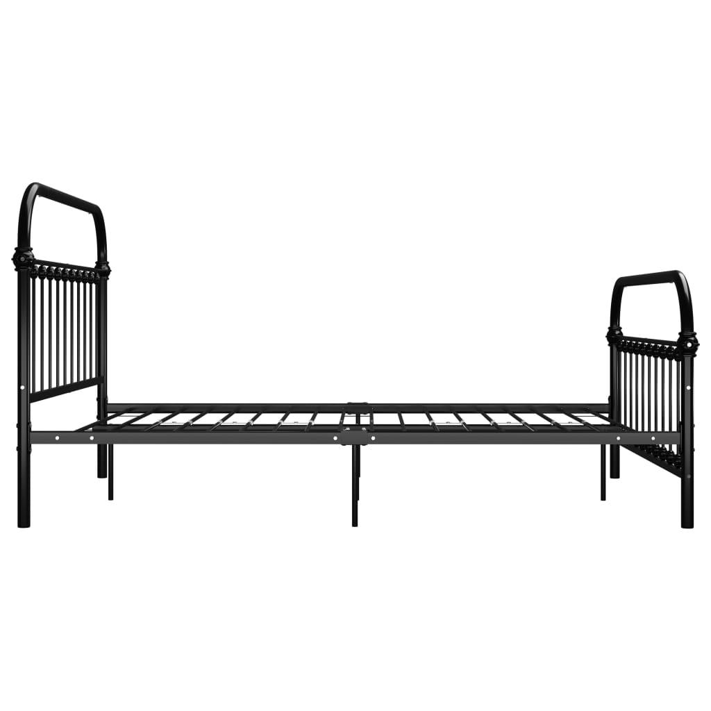 Cadru de pat, negru, 160 x 200 cm, metal