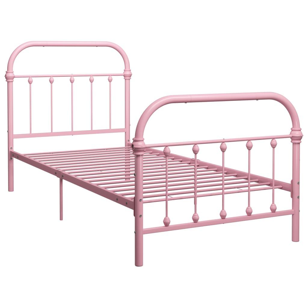 Cadru de pat, roz, 100 x 200 cm, metal