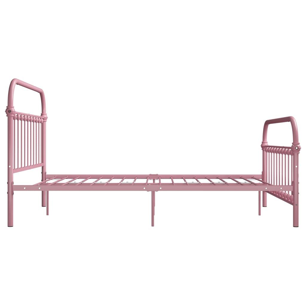 Cadru de pat, roz, 120 x 200 cm, metal