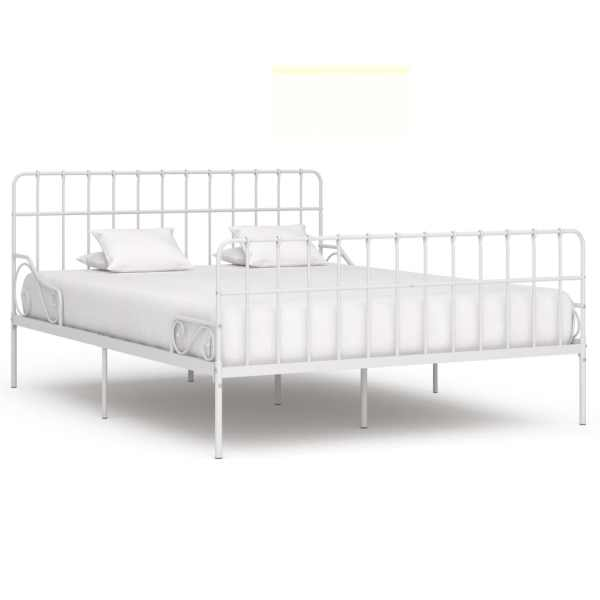 vidaXL Cadru de pat cu bază din șipci, alb, 200 x 200 cm, metal