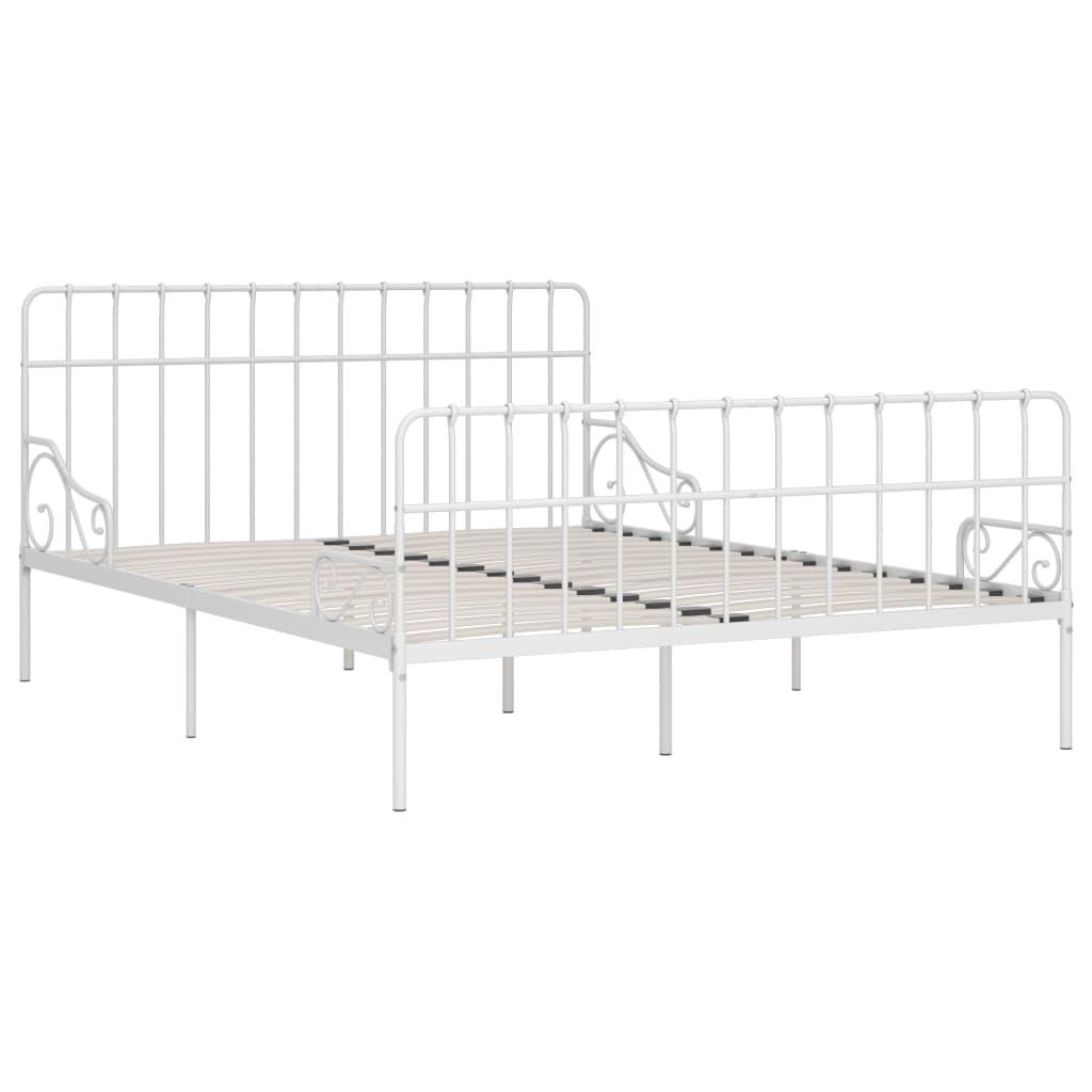 Cadru de pat cu bază din șipci, alb, 200 x 200 cm, metal