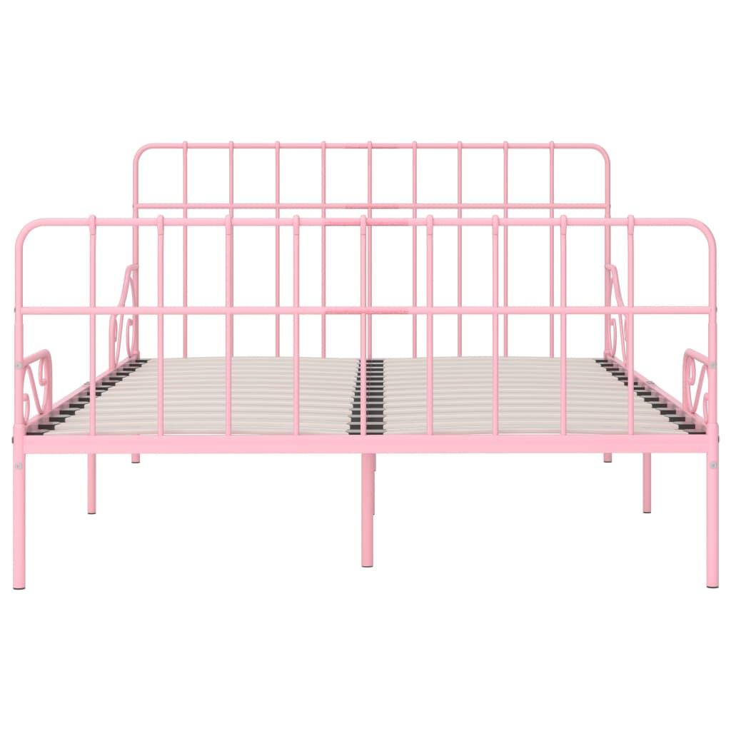 Cadru de pat cu bază din șipci, roz, 120 x 200 cm, metal