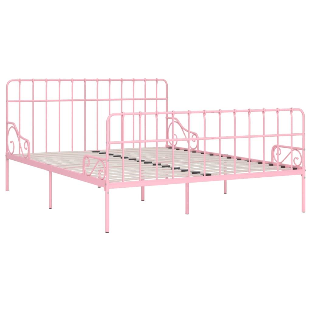 Cadru de pat cu bază din șipci, roz, 200 x 200 cm, metal