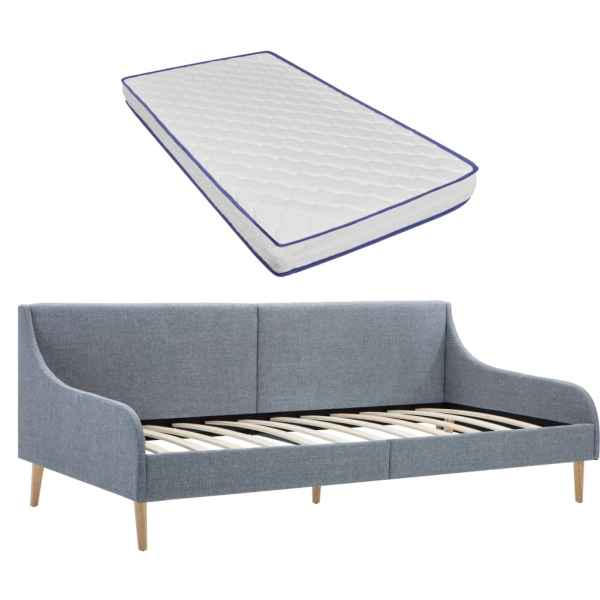 vidaXL Cadru pat de zi cu saltea spumă memorie, gri deschis, textil