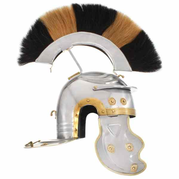 vidaXL Coif soldat roman aspect antic, joc roluri, argintiu, oțel