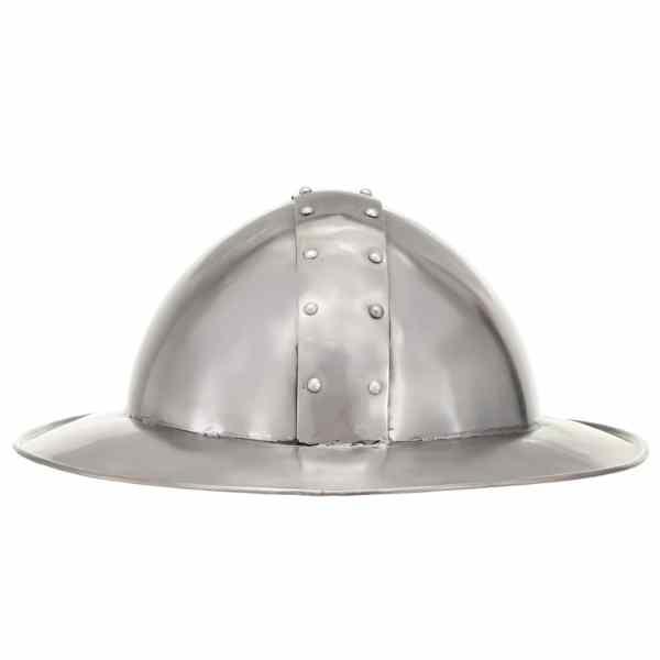 Coif cavaler medieval antic, jocuri de rol, argintiu, oțel